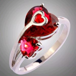 Jewelry - 🆕Ruby 925 Spinel Hearts Ring